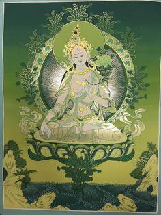 Dharmashop.com - Handmade Green tara Tibetan Thangka Painting , $245.00 (http://www.dharmashop.com/handmade-green-tara-tibetan-thangka-painting/)