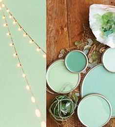 pale green decor + lights and paints