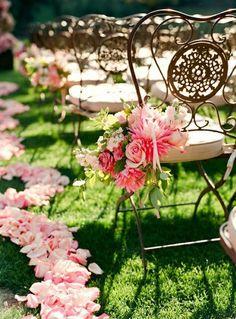 Aisle Idea......... Pink flowers everywhere!!
