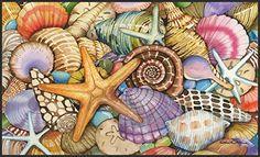 Toland Home Garden Shells of The Sea Doormat - Beachfront Decor