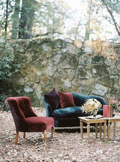 Vintage Wedding Lounge Furniture in Jewel Toned Velvet | Taralynn Lawton Photography | http://heyweddinglady.com/moody-dark-fairy-tale-wedding-shoot-mountains/