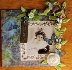 """Muse"", an unbound 4""x4"" page for an Altered Ancestors little book swap. Made by Susan @ Killam Creative."