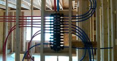 We started and finished the rough in of the upstairs PEX supply lines. It took all of Saturday to plan out where the lines would go but ac. Water House, Bathroom Plumbing, Solar Water, Water Heating, Chandelier, Ceiling Lights, Solar Powered Water Heater, Ceiling Lamps, Chandeliers