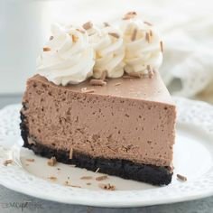 This is the BEST Chocolate Cheesecake! Its perfectly rich, creamy (with the help of Greek yogurt), and bakes up with no cracking and no water bath needed. This is the easy way to perfect baked cheesecake! Banoffee Cheesecake, Best Chocolate Cheesecake, Best Cheesecake, Homemade Cheesecake, No Bake Desserts, Dessert Recipes, Dessert Ideas, Cupcake Cakes, Cupcakes