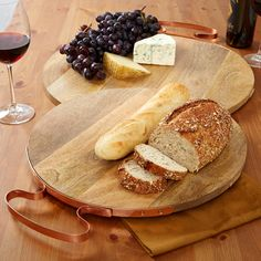 Set of 2 Cheese Boards With Copper Handle