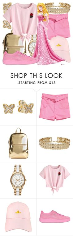 """Aurora"" by fabulousgurl ❤ liked on Polyvore featuring Pandora, DKNY, Miss Selfridge, Michael Kors, WithChic, Disney, Puma, sleepingbeauty and disneybound"