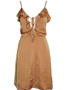 Miss Unkon Size 6/8/10 RRP $270 Now only $49 Mustard Painted Earth Dress Lace Up Frills