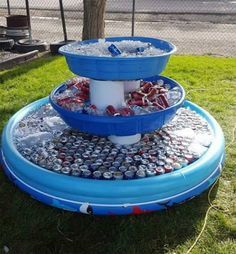Genius way to serve drinks at an outdoor party or barbecue and Charm and other great Party Hacks and ideas!