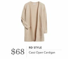 Stitch Fix Fall 2016 - RD Style, Cassi Open Cardigan, long cream cardi with elbow patches
