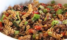 Fusillis with beef, sauce general Tao.- All the details inside. Sauce General Tao, One Pot Orzo, Beef Sauce, One Pot Dishes, Fusilli, Cheat Meal, Ground Beef Recipes, Food Inspiration, Great Recipes