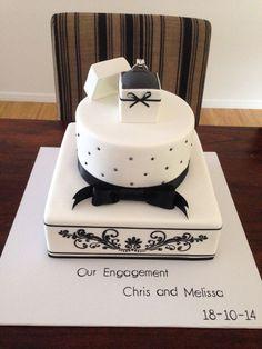 Classic black and white engagement cake Verlobung 💍 💍 Engagement Cake Design, Engagement Cakes, Elegant Wedding Cakes, Wedding Cake Designs, Traditional Wedding Cake, Casino Cakes, Cake Decorating Tips, Creative Cakes, Shower Cakes