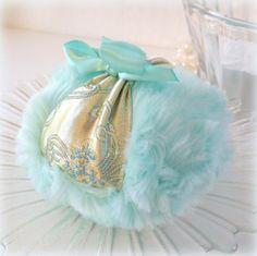 Aqua Body Powder Puff. Pastel satin brocade with robins egg blue plush by BonnyBubbles, $14.95