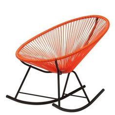 Acapulco Sun Oval Weave Indoor Outdoor All-Weather Rocker Rocking Chair - Orange Mexican Furniture, Home Decor Furniture, Vintage Furniture, Mexican Decorations, Mexican Home Decor, Outdoor Chairs, Indoor Outdoor, Rocking Chair, Home Accessories