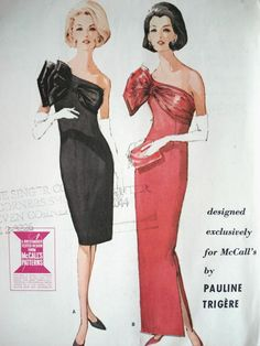 1960s CLASSY PAULINE TRIGERE ONE SHOULDER SLIM EVENING GOWN DRESS PATTERN LOVELY LARGE SHOULDER BOW McCALLS 7549