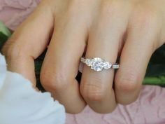 Gorgeous 2 Carat Cathedral Vintage Filigree Style 3 Stone Solitaire Engagement Ring, Man Made Diamond, Wedding, Bridal, Sterling Silver, 7-9
