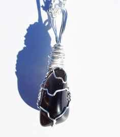 Wire Wrapped APACHE TEAR Grounding Stone Pendant by TheStoneFaery