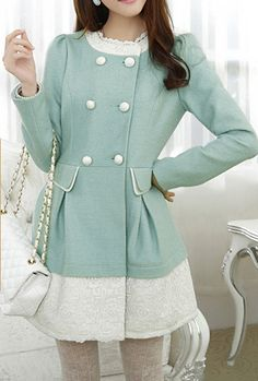Winter Gala Lace Trimmed Swing Coat in Mint Green | Sincerely Sweet Boutique
