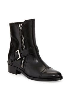 #MIUMIU Side-Zipper Flat Ankle Boot