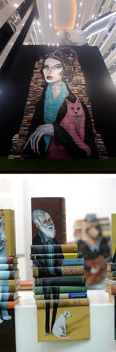 ink, acrylic and colored pencil on books - Painted Book Sculptures by Mike Stilkey