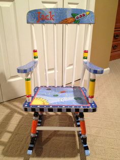Hand Painted Childs Rocking Chair by paintingbymichele on Etsy, $299.00