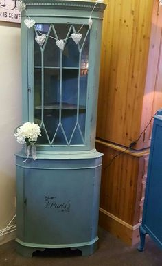 """Corner cabinet in Vintro Chalk Paint® """"duck egg blue""""  by ShabbyChic by Aimee.  See www.vintro.co.uk for further information."""