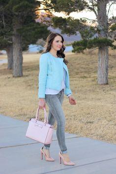 Pastels :: Light Blue Leather Jacket, grey denim, pink kate spade bow bag, white halogen tee and blush pumps