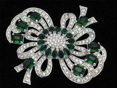 EISENBERG Vintage Emerald Rhinestone Rhodium Bow Pin Brooch Recast