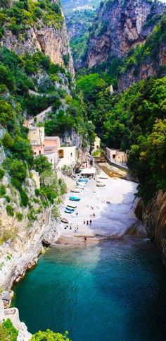 <3 I simply love the serenity of this secluded beach in Furore on the Amalfi coast in Italy ✿ Take me there please ・✿