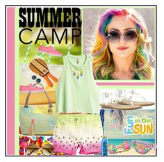 """Summer Camp !"" by fantasy-rose ❤ liked on Polyvore featuring WALL, Vans, Emilie M, H&M, Nivea, Glamorous, Blowfish, Estée Lauder and Frescobol Carioca"