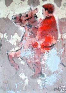 Ignacio Burgos - Jinete Con Caballo Signed Painting