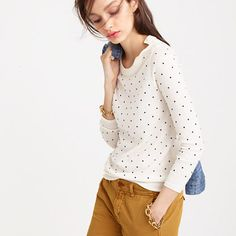 Like the polka dots and the buttons at the shoulder. Would be good for work or casual. J.Crew+-+Polka-dot+Tippi+sweater+with+shoulder+buttons