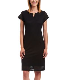 Look at this Black Cap-Sleeve Dress on #zulily today!