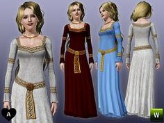 Sims 3 dress, gown, medieval, fashion, female