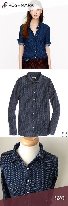 J Crew Boy Embroidered Polka Dot Navy Blouse PRODUCT DETAILS Our classic take on the beloved boyfriend shirt, shaped with seams at the bust for a more feminine fit and tailored in a supersoft indigo cotton with textured polka dots. Great condition, barely worn.  Cotton. Long sleeves. Chest pocket. Functional buttons at cuffs. Machine wash. Import. Item 02833. J. Crew Tops Button Down Shirts