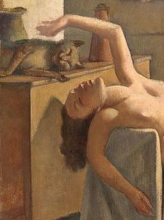 Painting by Balthus (1908–2001), 1949, Nude with Cat, oil on canvas, National Gallery of Victoria, Melbourne. (detail)