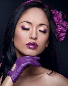 Purple accessories and Purple lips Wow
