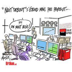 """Société Générale : """"ici on nuit assis"""" #nuidebout"""