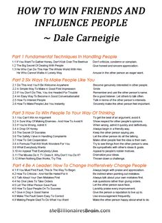 Dale Carnegie ~ How To Win Friends & Influence People Professional Development, Self Development, Personal Development, Leadership Development, Life Skills, Life Lessons, Guter Rat, Mental Training, How To Influence People