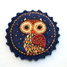 Embroidered cross stitch Owl Brooch Animal brooch golden