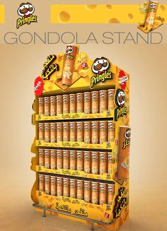 Pringles Displays on Behance Pos Display, Display Design, Store Design, Display Stands, Pos Design, Retail Design, Cardboard Display, Environmental Graphic Design, Point Of Purchase