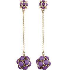 purple pave ball drop earrings