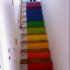 this idea. Love the pantone design & great way to add some extra colour into the house. Painted Stairs, Painted Floors, Pantone Paint, Stair Shelves, Basement Stairs, Wall Bar, Step By Step Painting, School Decorations, Stairway To Heaven