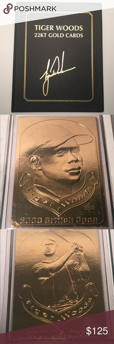 22KT GOLD UPPER DECK TIGER WOODS CARD COLLECTION A RARE COLLECTIBLE TO OWN, SINCE UPPER DECK AUTHENTICATORS RELEASED THESE IN 2001 AND NO LONGER PRODUCE THEM . THEY WERE A LIMITED RUN AND VERY HARD TO FIND NOW AND THE VALUE ON THIS PIECE WILL ONLY CONTINUE TO GROW AND GROW. THIS IS A RARE COLLECTION OF UPPER DECK 22KT GOLD CARDS COMMEMORATING TIGER WOODS' GRAND SLAM VICTORY. THEY'RE IN A BOUND 8 1/2 X 10 1/2 BOOK THAT HAS TIGER'S SIGNATURE GOLD FOILED STAMPED ON THE COVER.  4 22KT GOLD CARDS…
