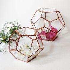 #Hire our #copper #geometric #hexagon #glass #bowls for your #Melbourne #wedding #centrepieces