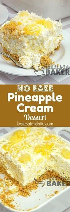 Easy no-bake summery dessert with a creamy pineapple filling. – Susan Pointer Easy no-bake summery dessert with a creamy pineapple filling. Easy no-bake summery dessert with a creamy pineapple filling. Baked Pineapple, Pineapple Desserts, Pineapple Recipes, Crushed Pineapple, Pineapple Cake, Pineapple Cheesecake, Pinapple Pie, Pineapple Muffins, 13 Desserts