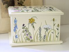 Painted Cottage Furniture Box Woodland Flowers by BetweenTheWeeds,SOLD