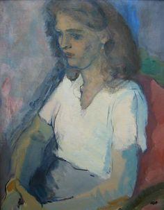 Oepts Wim (1904 –1988), Jonge vrouw met witte blouse, 1938, Olie op doek ,73 x 57 cm