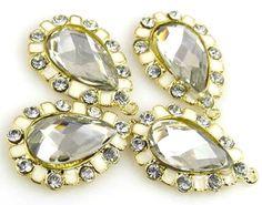 4 faceted enamel lucite stone drops pendants charms 10725 - Mobile Boutique