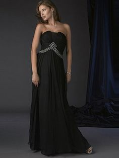 A-line Strapless Rhinestone Sleeveless Floor-length Chiffon Black Mother of the Bride Dresses