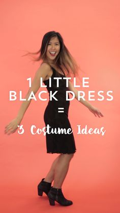Create 3 different last-minute Halloween costumes — a cat, a flapper + Little Red Riding Hood with 1 little black dress.